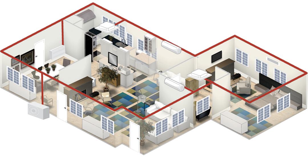 Grafik Wohnhaus Multisplit